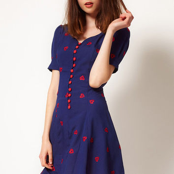Blue Love Print V-neck Short Puff Sleeves Chiffon Pleated A-Line Mini Dress
