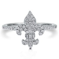 Clear Cubic Zirconia CZ Sterling Silver 925 Fleur De Lis Fashion Ring #r585