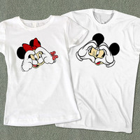 Couples Tees Disney - Cute Couples Mickey Minnie Mouse T-Shirt - Color Available