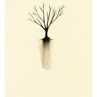 Little Tree Silhouette Art Print of Watercolor Painting - Autumn Tree with Roots - Monochromatic Minimalist Art