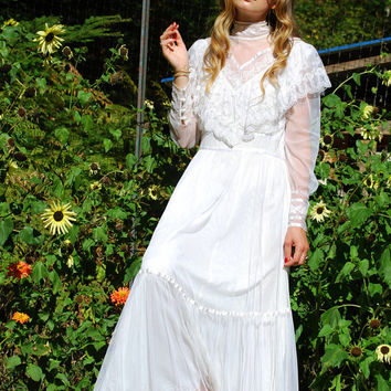 70s GUNNE SAX Wedding Dress, Jessica McClintock White Lace Boho Maxi Dress, Romantic Renaissance Dress, Victorian Dress, Bridal Gown, Large