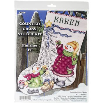 "Christmas Tree Snowman Stocking Counted Cross Stitch Kit 17"" Long 14 Count"