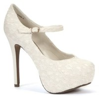 New Look Mobile | White Crochet Lace Ankle Strap Court Shoes