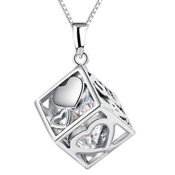 Silver Plated Love Hearts Cube Pendant Necklace