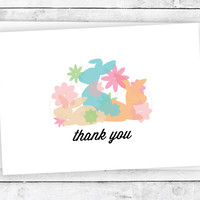 Pretty Bunnies & Flowers - Thank You Cards