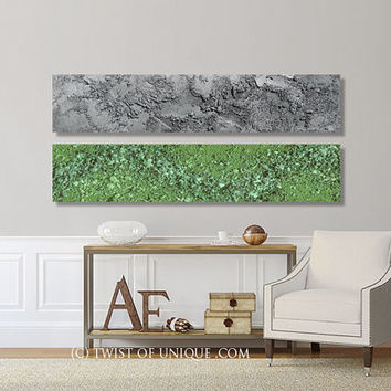 Oversized Abstract wall Art / CUSTOM Painting / 2 panel (48 Inch x 12 Inch) / Concrete / Stone/ Textured/ Lime green and metallic silver