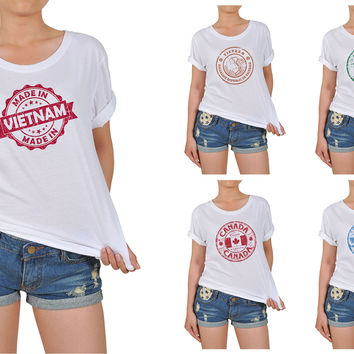 Women's Stamps of countries Printed Cotton T-shirt WTS_12