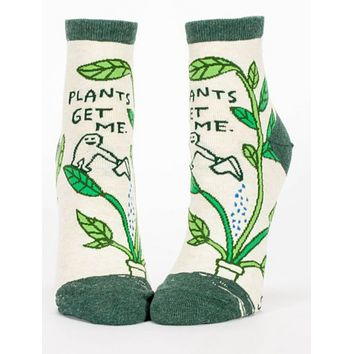 Plants Get Me Women's Ankle Socks in Green and Cream