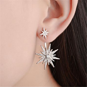 925 Silver Crystal Snowflake Stud Earrings +Gift Box
