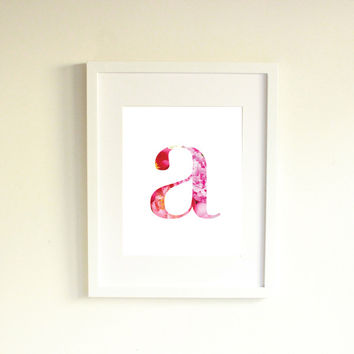 Pink Peony Monogram Print, Instant Download