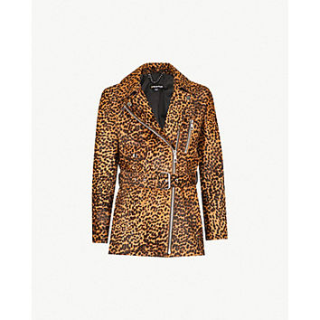 WHISTLES Leopard-print leather biker jacket