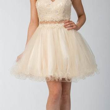 Starbox USA 6417 Champagne Mock Two-Piece Homecoming Dress Keyhole Back