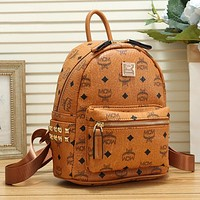 MCM Woman Men Fashion Leather Backpack Bookbag