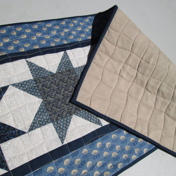Americana Table Runner - Scrappy Blue and White Star Quilt