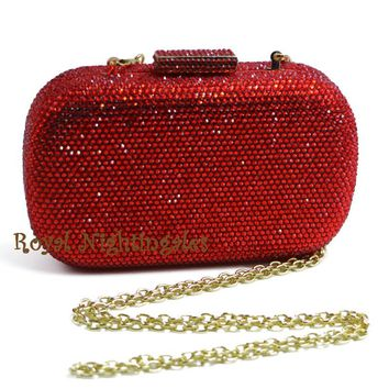 Ladies Ruby Red Hard Case Evening Clutch Purse With Rhinestone Crystals