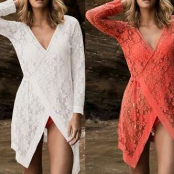LONMF white lace cover up dress summer crochet bikini covers beach wear sexy long sleeve lace cover up beach dress long