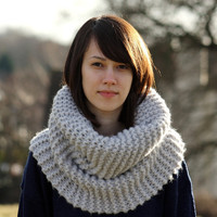 Hand Knit Cowl Neck Gray Chunky Cowl Neck Scarf Snood