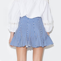 Striped A-Line Mini Skater Skirt