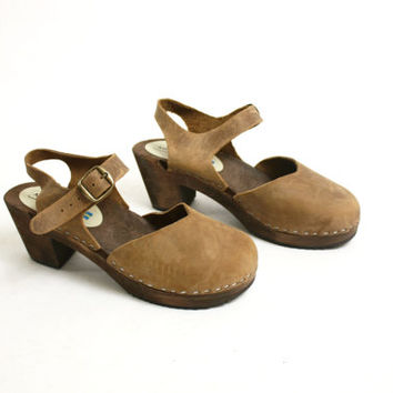 Vintage 90's Brown Suede Wooden Platform Clogs, Leather Slingback Clogs Mules Made in Sweden - EUR 38/ US 7.5/ UK 5