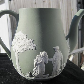 1960s Wedgwood Sage Jasperware Green Porcelain Coffee Pot No Lid Mythological Motif