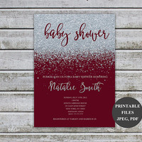 Baby Shower Invitations Girl Baby Shower Invitation Personalised Invitation Silver Glitter Baby Shower Invites Printable Download (v35S1)