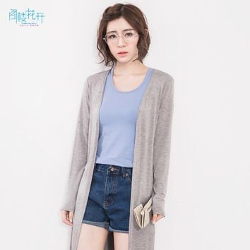 Gelouhuakai Spring Summer Long Cardigan Women Casual Simple Solid Color Cashmere Coat Women Long Sweaters Open Cardigans