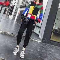 adidas women casual personality multicolor long sleeve hoodie trousers set two piece sportswear