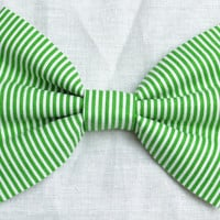 Green Stripe Hair Bow