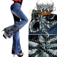 Beaded & Embroidered Women's Flare Jeans