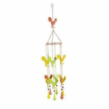 Prismatic Metal Rooster Wind Chime