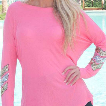 Pink Long Sleeve Sequined T-Shirt
