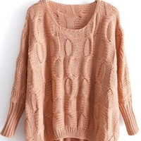 Asymmetric Round Neck Sweater Pink  S006009
