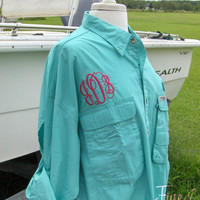 Long Sleeve Fishing Shirt with Chest Monogram