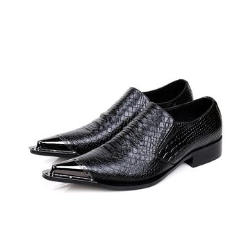 New Business Italian Men Dress Shoes British Style Metal Pointed Toe Genuine Leather Shoes Black Party Banquet Shoes Men Flats