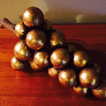 1960's Gold Leaf Lucite Grapes- 1960's Hollywood Regency table decor