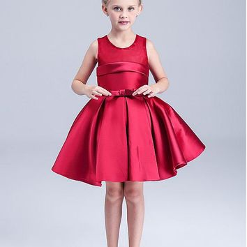 [24.99] In Stock Attractive Satin Scoop Neckline Ball Gown Girls' Formal Dresses - dressilyme.com
