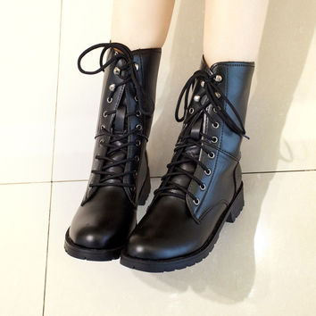 PU Leather Women Motorcycle Boots Black Lace Up Ankle Boots Shoes Woman 2016 3376