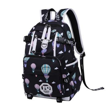 "School Backpack trendy Water-resistent College  With USB Charging Port School Bags For Girls Backpack Fits UNDER 17"" Laptop and Notebook AT_54_4"