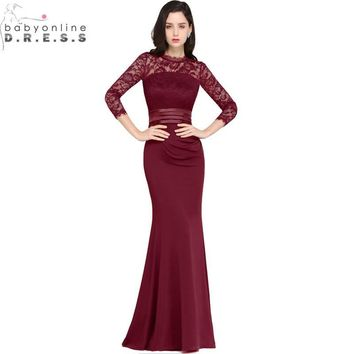Vestido de Festa Longo Sexy Sheer Back Mermaid Burgundy Prom Dresses 2017 Three Quarter Sleeve Black Evening Party Dresses