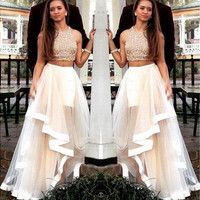 Two Piece Evening Bridesmaid Tulle Dress Formal Pageant Prom Gown Dress