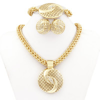 Chinese Tai Chi Jewelry Dubai Golden Plated Big Necklace Jewelry Sets Fashion Nigerian Wedding African crystal Costume Jewelry