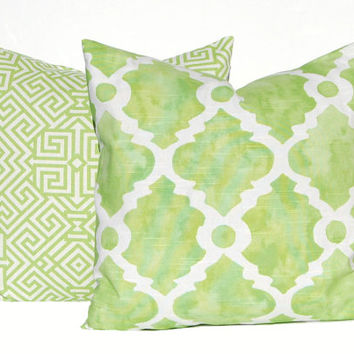 Green Pillows, Pillow Covers, Decorative Throw Pillow Covers, Green Cushion Covers, Kiwi Green Greek Key