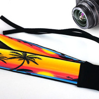 Accessories. Beach Camera Strap. Cute Strap. Sunset Camera Strap, Palm-Trees Camera Strap.