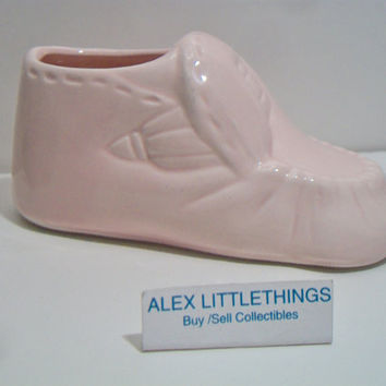 Vintage Pink Baby Bootie Shoe Figurine Cake Topper Baby Shower Nursery Planter Taiwan ROC