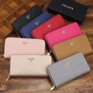 PEAPJ3V Prada Women Fashion Leather Zipper Wallet Purse-2
