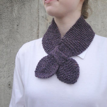 Purple Ascot Scarf, Hand Knit Cashmere Blend, Bow Neck Scarf, Office Scarf