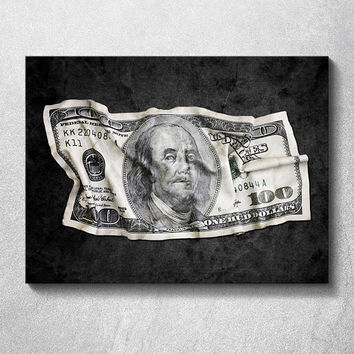 Canvas Wall Art - Crumpled Benjamin - Original design by Epik - Ready to Hang High Quality Artwork for Office / Home Wall Decor