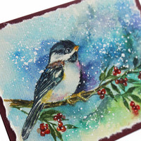 OOAK Christmas Card, Original Handpainted, 100% Cotton Rag Paper. Handmade Greeting Card, Winter Card, Chickadee, Seasonal, Fall Card,