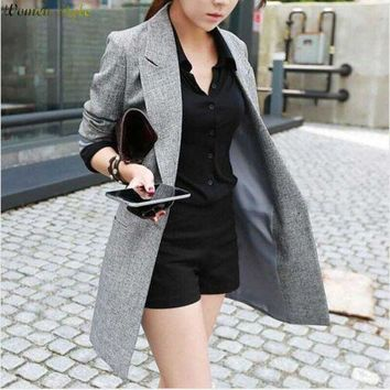 2016 Hot Selling Spring Women Casual Long Thin Blazers Coats Notched Collar Full Sleeve Single Button Fashion Cardigans Y99