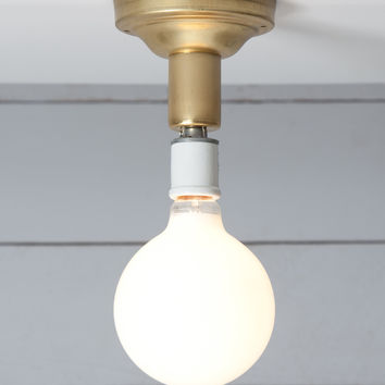 Brass Semi Flush Light - Vintage Bare Bulb Lamp